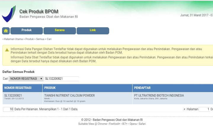 NO BPOM NHCP TIENS