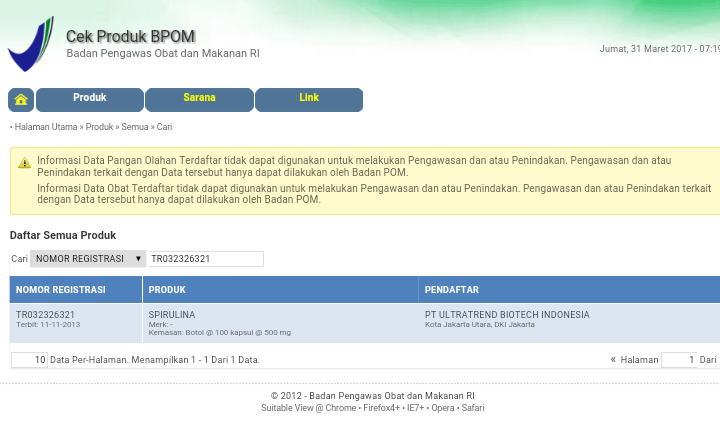 No BPOM Spirulina Tiens -TR 032326321