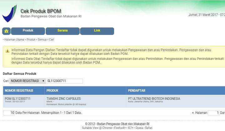 Nomor BPOM Zinc Tiens